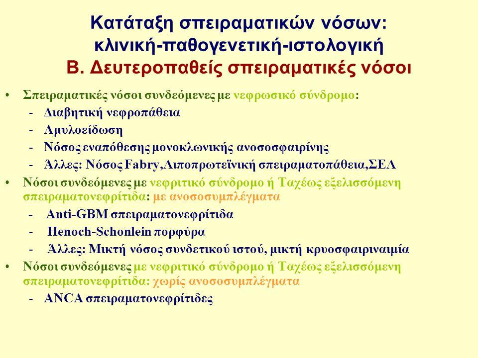 Κατάταξη σπειραματικών νόσων: κλινική-παθογενετική-ιστολογική Β. Δευτεροπαθείς σπειραματικές νόσοι Σπειραματικές νόσοι συνδεόμενες με νεφρωσικό σύνδρο