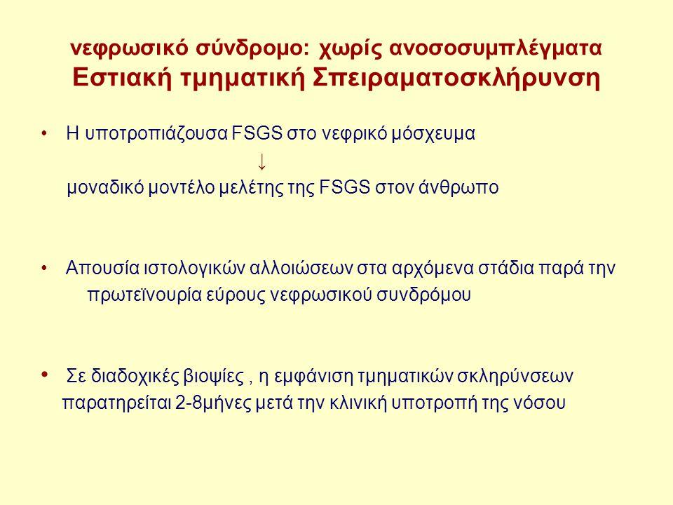 νεφρωσικό σύνδρομο: χωρίς ανοσοσυμπλέγματα Εστιακή τμηματική Σπειραματοσκλήρυνση Η υποτροπιάζουσα FSGS στο νεφρικό μόσχευμα ↓ μοναδικό μοντέλο μελέτης