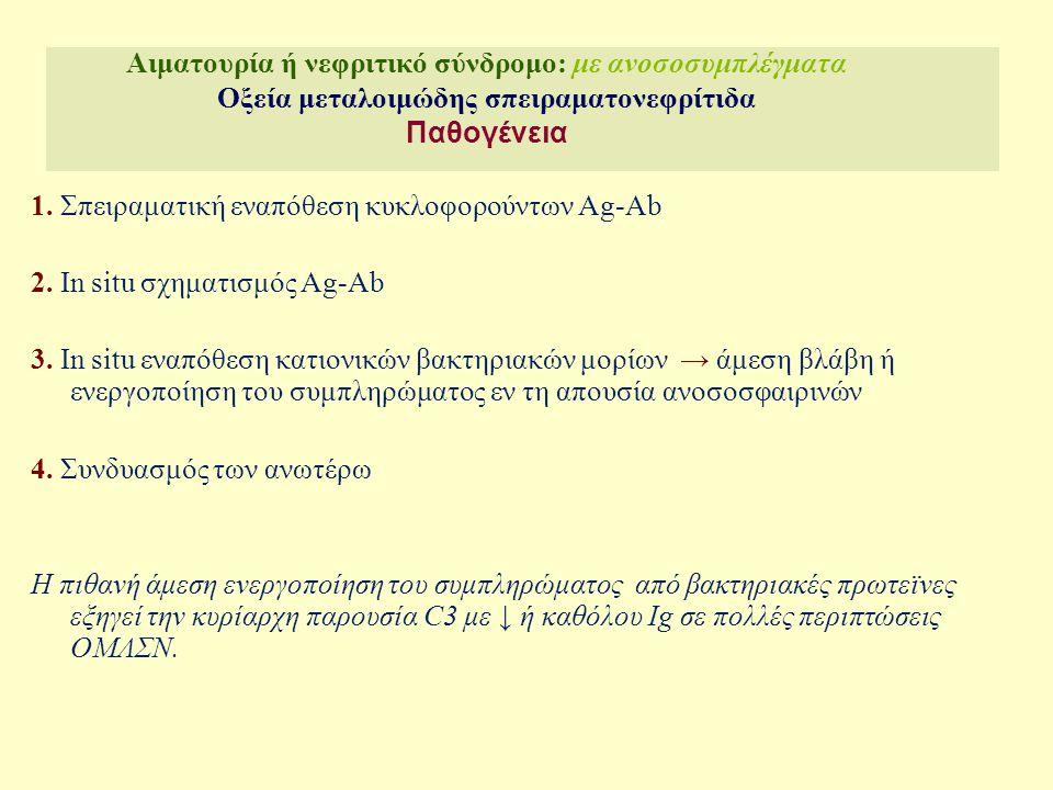 Αιματουρία ή νεφριτικό σύνδρομο: με ανοσοσυμπλέγματα Οξεία μεταλοιμώδης σπειραματονεφρίτιδα Παθογένεια Δημιουργία ανοσοσυμπλεγμάτων (Strept Ag-Ig) Ags: exotoxin B, glyceraldehyde phospahate dehadrogenase (PA-Ag) - Ασθενείς με APSGN: ↑Ab έναντι exotoxin B (SpeB), PA-Ag JASN 2005;16:247-54 Φυσιολογικός μάρτυρας