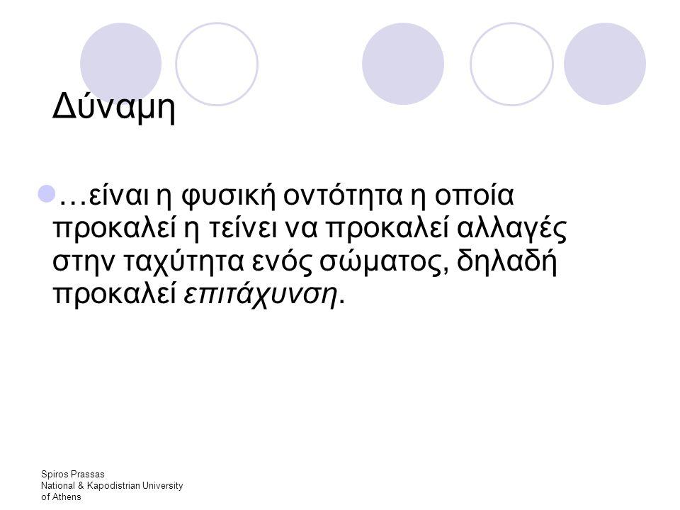 Spiros Prassas National & Kapodistrian University of Athens Δύναμη …είναι η φυσική οντότητα η οποία προκαλεί η τείνει να προκαλεί αλλαγές στην ταχύτητα ενός σώματος, δηλαδή προκαλεί επιτάχυνση.
