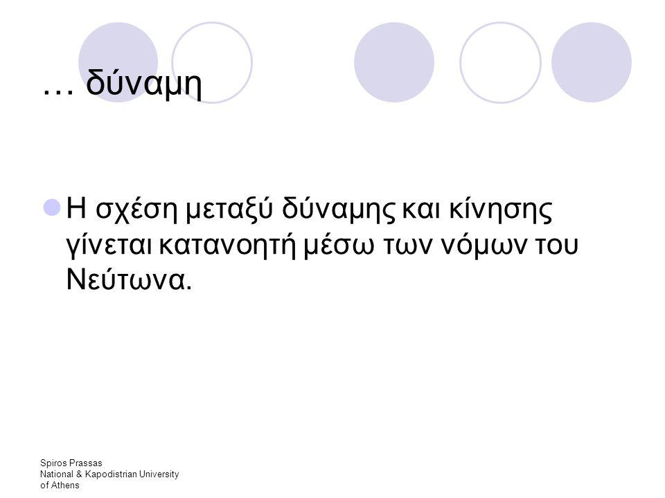 Spiros Prassas National & Kapodistrian University of Athens … δύναμη Η σχέση μεταξύ δύναμης και κίνησης γίνεται κατανοητή μέσω των νόμων του Νεύτωνα.