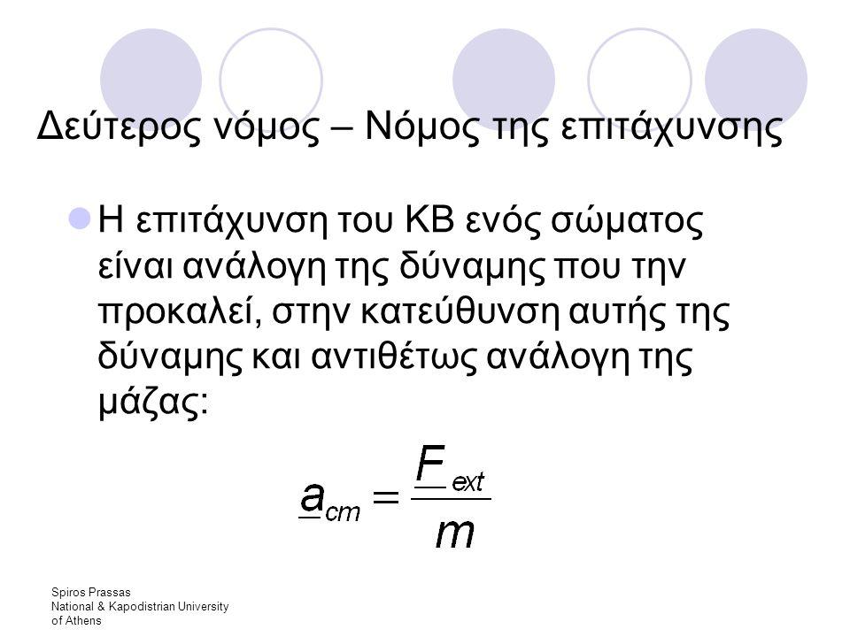 Spiros Prassas National & Kapodistrian University of Athens Δεύτερος νόμος – Νόμος της επιτάχυνσης Η επιτάχυνση του ΚΒ ενός σώματος είναι ανάλογη της δύναμης που την προκαλεί, στην κατεύθυνση αυτής της δύναμης και αντιθέτως ανάλογη της μάζας: