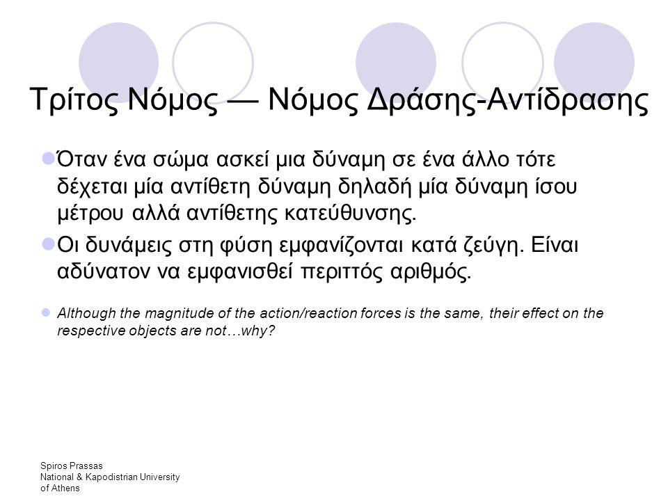 Spiros Prassas National & Kapodistrian University of Athens Τρίτος Νόμος — Νόμος Δράσης-Αντίδρασης Όταν ένα σώμα ασκεί μια δύναμη σε ένα άλλο τότε δέχεται μία αντίθετη δύναμη δηλαδή μία δύναμη ίσου μέτρου αλλά αντίθετης κατεύθυνσης.
