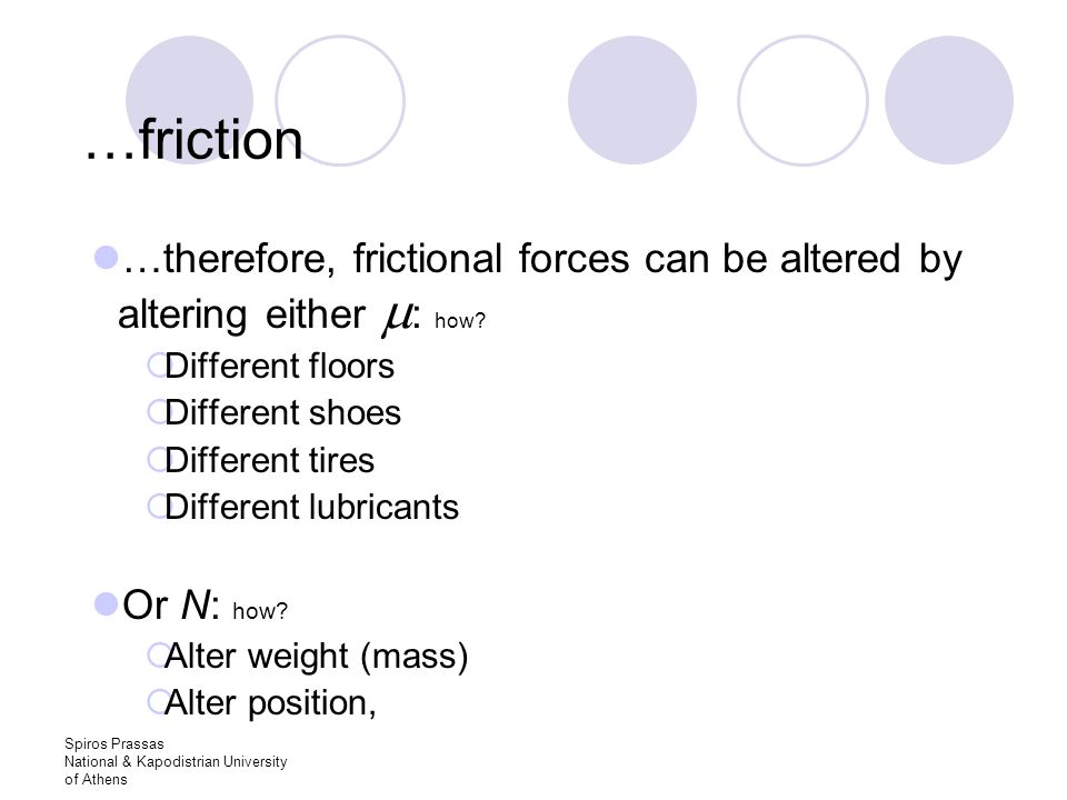 Spiros Prassas National & Kapodistrian University of Athens …friction …therefore, frictional forces can be altered by altering either  : how.