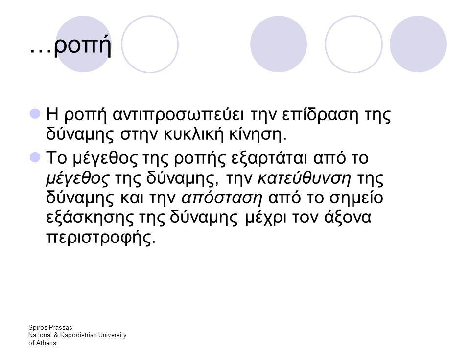 Spiros Prassas National & Kapodistrian University of Athens …ροπή Η ροπή αντιπροσωπεύει την επίδραση της δύναμης στην κυκλική κίνηση.