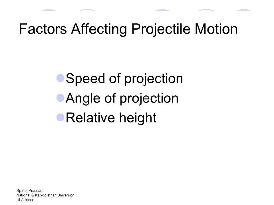 Spiros Prassas National & Kapodistrian University of Athens Factors Affecting Projectile Motion Speed of projection Angle of projection Relative height