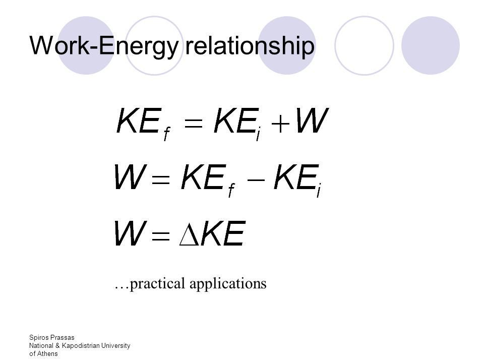 Spiros Prassas National & Kapodistrian University of Athens Work-Energy relationship …practical applications