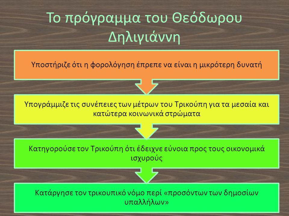 Το πρόγραμμα του Θεόδωρου Δηλιγιάννη Κατάργησε τον τρικουπικό νόμο περί «προσόντων των δημοσίων υπαλλήλων» Κατηγορούσε τον Τρικούπη ότι έδειχνε εύνοια προς τους οικονομικά ισχυρούς Υπογράμμιζε τις συνέπειες των μέτρων του Τρικούπη για τα μεσαία και κατώτερα κοινωνικά στρώματα Υποστήριζε ότι η φορολόγηση έπρεπε να είναι η μικρότερη δυνατή