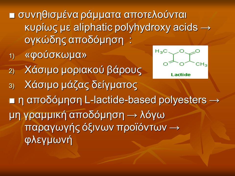 ■ συνηθισμένα ράμματα αποτελούνται κυρίως με aliphatic polyhydroxy acids → ογκώδης αποδόμηση : 1) «φούσκωμα» 2) Χάσιμο μοριακού βάρους 3) Χάσιμο μάζας δείγματος ■ η αποδόμηση L-lactide-based polyesters → μη γραμμική αποδόμηση → λόγω παραγωγής όξινων προϊόντων → φλεγμωνή