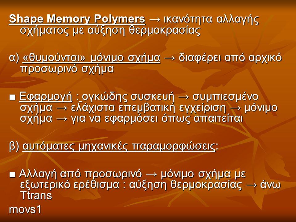 Shape Memory Polymers → ικανότητα αλλαγής σχήματος με αύξηση θερμοκρασίας α) «θυμούνται» μόνιμο σχήμα → διαφέρει από αρχικό προσωρινό σχήμα ■ Εφαρμογή : ογκώδης συσκευή → συμπιεσμένο σχήμα → ελάχιστα επεμβατική εγχείριση → μόνιμο σχήμα → για να εφαρμόσει όπως απαιτείται β) αυτόματες μηχανικές παραμορφώσεις: ■ Αλλαγή από προσωρινό → μόνιμο σχήμα με εξωτερικό ερέθισμα : αύξηση θερμοκρασίας → άνω Ttrans movs1