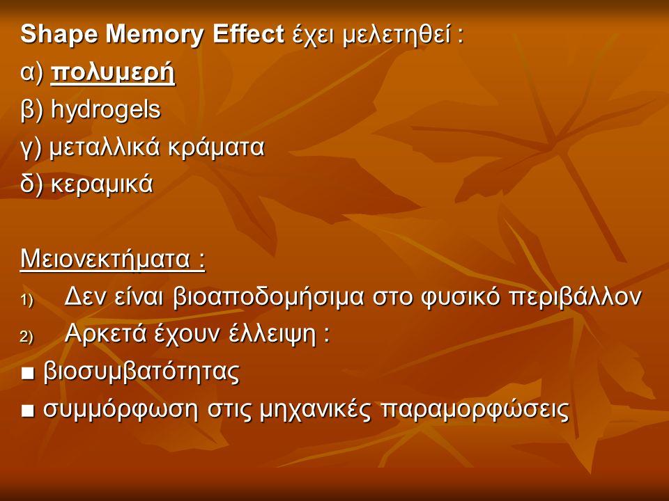 Shape Memory Effect έχει μελετηθεί : α) πολυμερή β) hydrogels γ) μεταλλικά κράματα δ) κεραμικά Μειονεκτήματα : 1) Δεν είναι βιοαποδομήσιμα στο φυσικό περιβάλλον 2) Αρκετά έχουν έλλειψη : ■ βιοσυμβατότητας ■ συμμόρφωση στις μηχανικές παραμορφώσεις