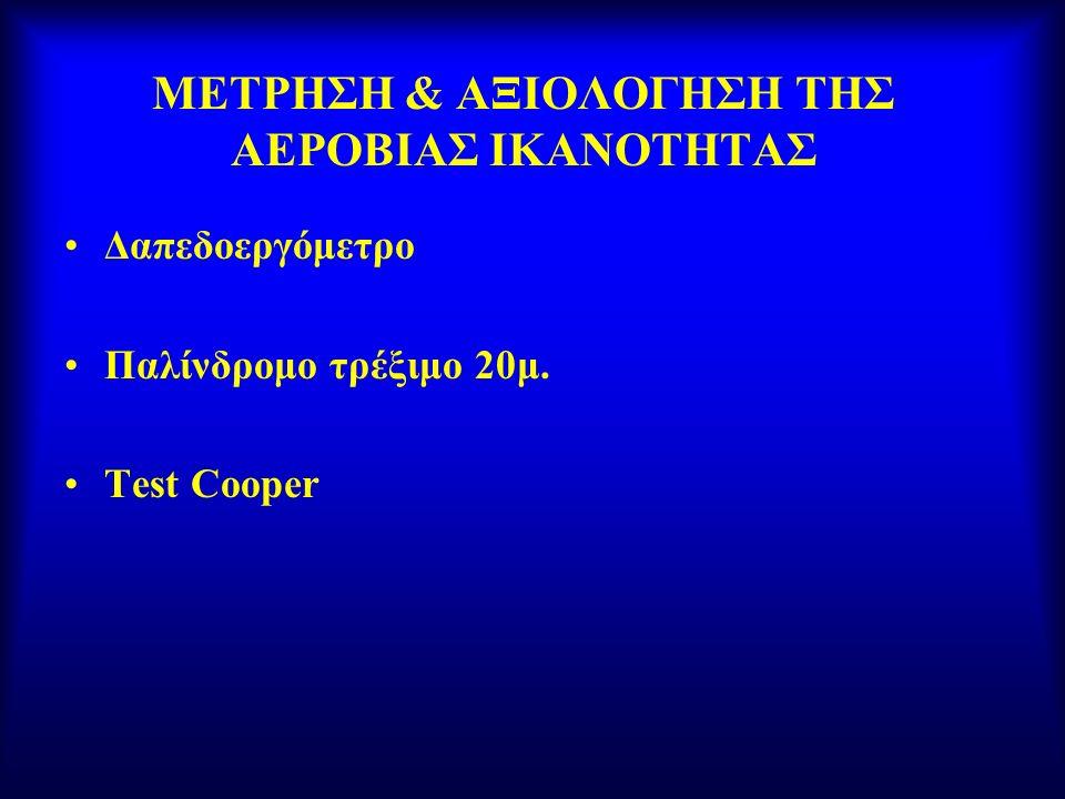 ΜΕΤΡΗΣΗ & ΑΞΙΟΛΟΓΗΣΗ ΤΗΣ ΑΕΡΟΒΙΑΣ ΙΚΑΝΟΤΗΤΑΣ Δαπεδοεργόμετρο Παλίνδρομο τρέξιμο 20μ. Test Cooper