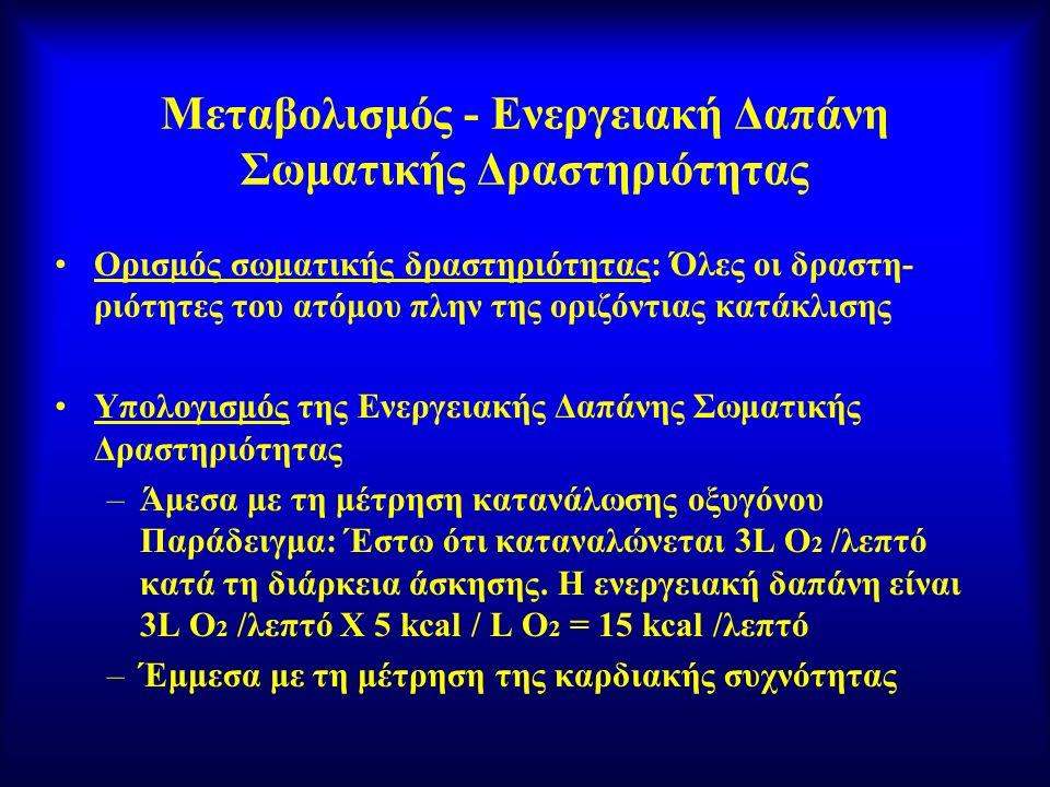 Μεταβολισμός - Ενεργειακή Δαπάνη Σωματικής Δραστηριότητας Ορισμός σωματικής δραστηριότητας: Όλες οι δραστη- ριότητες του ατόμου πλην της οριζόντιας κα