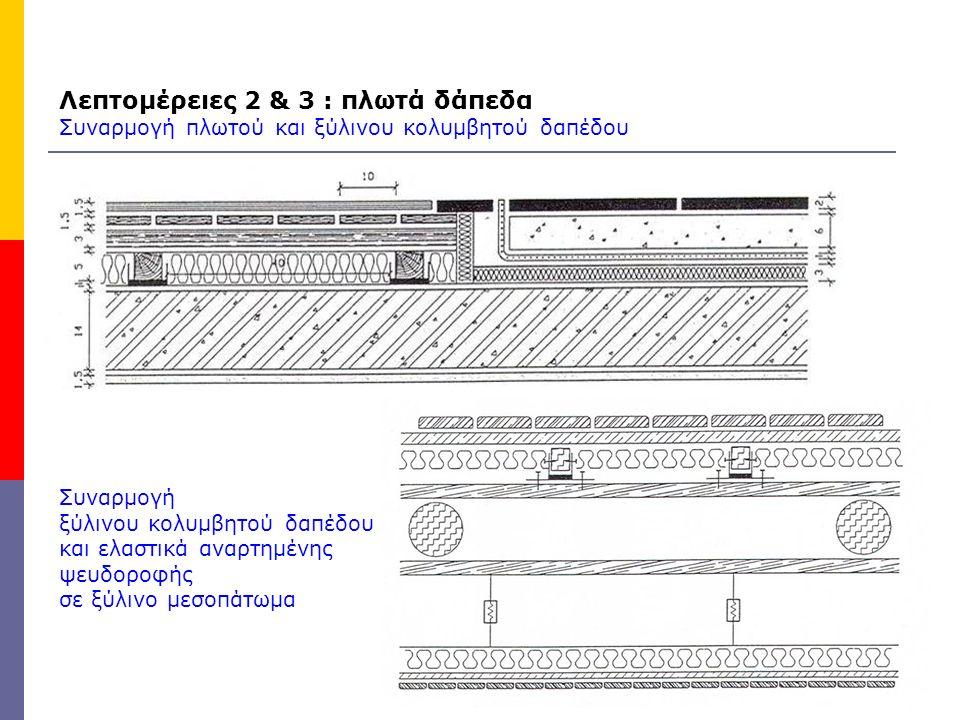 Λεπτομέρειες 2 & 3 : πλωτά δάπεδα Συναρμογή πλωτού και ξύλινου κολυμβητού δαπέδου Συναρμογή ξύλινου κολυμβητού δαπέδου και ελαστικά αναρτημένης ψευδορ