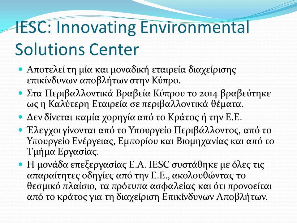 ΣΤΟΙΧΕΙΑ ΕΤΑΙΡΕΙΑΣ IESC ΟΝΟΜΑ ΟΡΓΑΝΙΣΜΟΥInnovating Environmental Solutions Center Ltd (IESC Ltd) ΕΤΟΣ ΙΔΡΥΣΗΣ2010 ΚΩΔΙΚΟΣ ΚΥΡΙΑΣ ΔΡΑΣΤΗΡΙΟΤΗΤΑΣ (ΣΤΑΚΟΔ) Ε 38.12.2 – Υπηρεσίες διάθεσης επικίνδυνων απορριμμάτων ΚΩΔΙΚΟΣ NACEΕ.