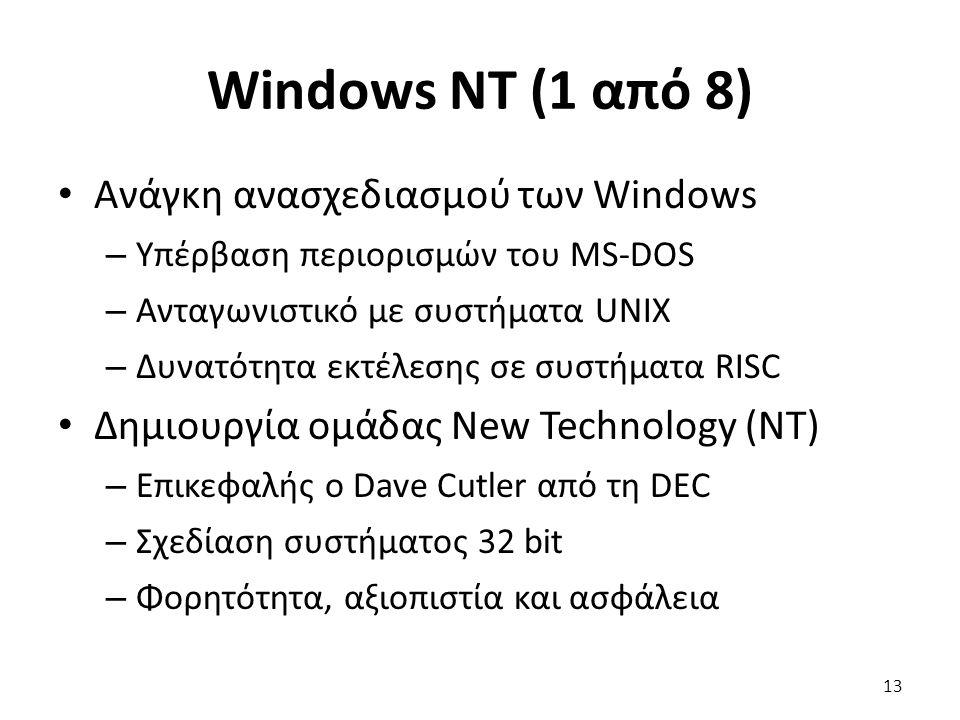 Windows NT (1 από 8) Ανάγκη ανασχεδιασμού των Windows – Υπέρβαση περιορισμών του MS-DOS – Ανταγωνιστικό με συστήματα UNIX – Δυνατότητα εκτέλεσης σε συστήματα RISC Δημιουργία ομάδας New Technology (NT) – Επικεφαλής ο Dave Cutler από τη DEC – Σχεδίαση συστήματος 32 bit – Φορητότητα, αξιοπιστία και ασφάλεια 13