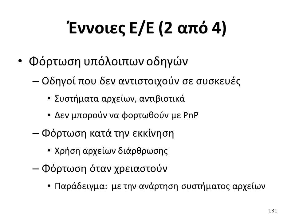 Έννοιες Ε/Ε (2 από 4) Φόρτωση υπόλοιπων οδηγών – Οδηγοί που δεν αντιστοιχούν σε συσκευές Συστήματα αρχείων, αντιβιοτικά Δεν μπορούν να φορτωθούν με PnP – Φόρτωση κατά την εκκίνηση Χρήση αρχείων διάρθρωσης – Φόρτωση όταν χρειαστούν Παράδειγμα: με την ανάρτηση συστήματος αρχείων 131