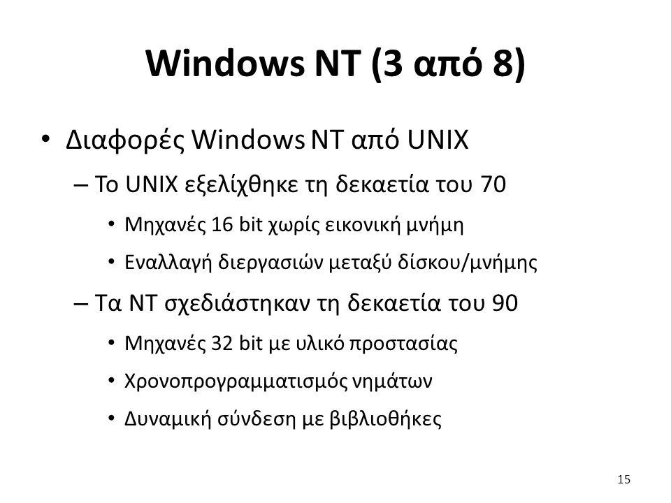 Windows NT (3 από 8) Διαφορές Windows NT από UNIX – Το UNIX εξελίχθηκε τη δεκαετία του 70 Μηχανές 16 bit χωρίς εικονική μνήμη Εναλλαγή διεργασιών μεταξύ δίσκου/μνήμης – Τα NT σχεδιάστηκαν τη δεκαετία του 90 Μηχανές 32 bit με υλικό προστασίας Χρονοπρογραμματισμός νημάτων Δυναμική σύνδεση με βιβλιοθήκες 15