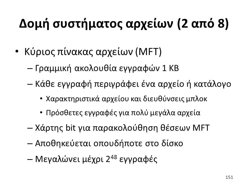 Δομή συστήματος αρχείων (2 από 8) Κύριος πίνακας αρχείων (MFT) – Γραμμική ακολουθία εγγραφών 1 KB – Κάθε εγγραφή περιγράφει ένα αρχείο ή κατάλογο Χαρακτηριστικά αρχείου και διευθύνσεις μπλοκ Πρόσθετες εγγραφές για πολύ μεγάλα αρχεία – Χάρτης bit για παρακολούθηση θέσεων MFT – Αποθηκεύεται οπουδήποτε στο δίσκο – Μεγαλώνει μέχρι 2 48 εγγραφές 151