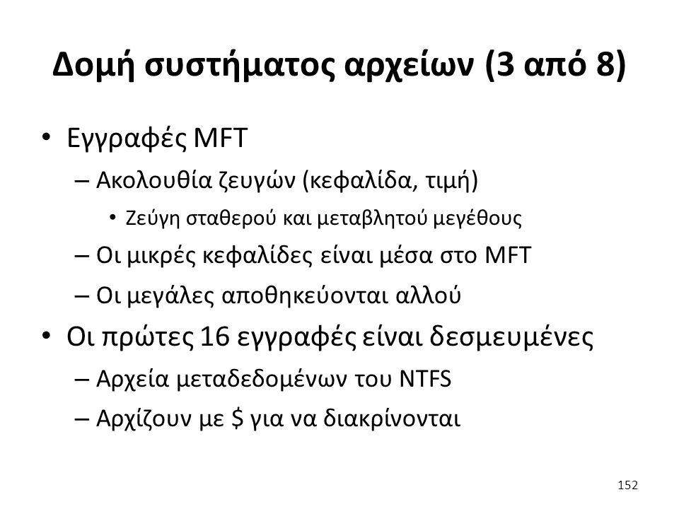 Δομή συστήματος αρχείων (3 από 8) Εγγραφές MFT – Ακολουθία ζευγών (κεφαλίδα, τιμή) Ζεύγη σταθερού και μεταβλητού μεγέθους – Οι μικρές κεφαλίδες είναι μέσα στο MFT – Οι μεγάλες αποθηκεύονται αλλού Οι πρώτες 16 εγγραφές είναι δεσμευμένες – Αρχεία μεταδεδομένων του NTFS – Αρχίζουν με $ για να διακρίνονται 152