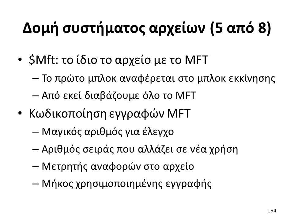 Δομή συστήματος αρχείων (5 από 8) $Mft: το ίδιο το αρχείο με το MFT – Το πρώτο μπλοκ αναφέρεται στο μπλοκ εκκίνησης – Από εκεί διαβάζουμε όλο το MFT Κωδικοποίηση εγγραφών MFT – Μαγικός αριθμός για έλεγχο – Αριθμός σειράς που αλλάζει σε νέα χρήση – Μετρητής αναφορών στο αρχείο – Μήκος χρησιμοποιημένης εγγραφής 154