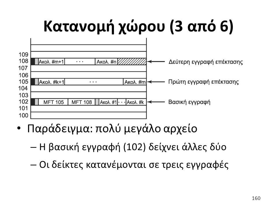 Κατανομή χώρου (3 από 6) Παράδειγμα: πολύ μεγάλο αρχείο – Η βασική εγγραφή (102) δείχνει άλλες δύο – Οι δείκτες κατανέμονται σε τρεις εγγραφές 160
