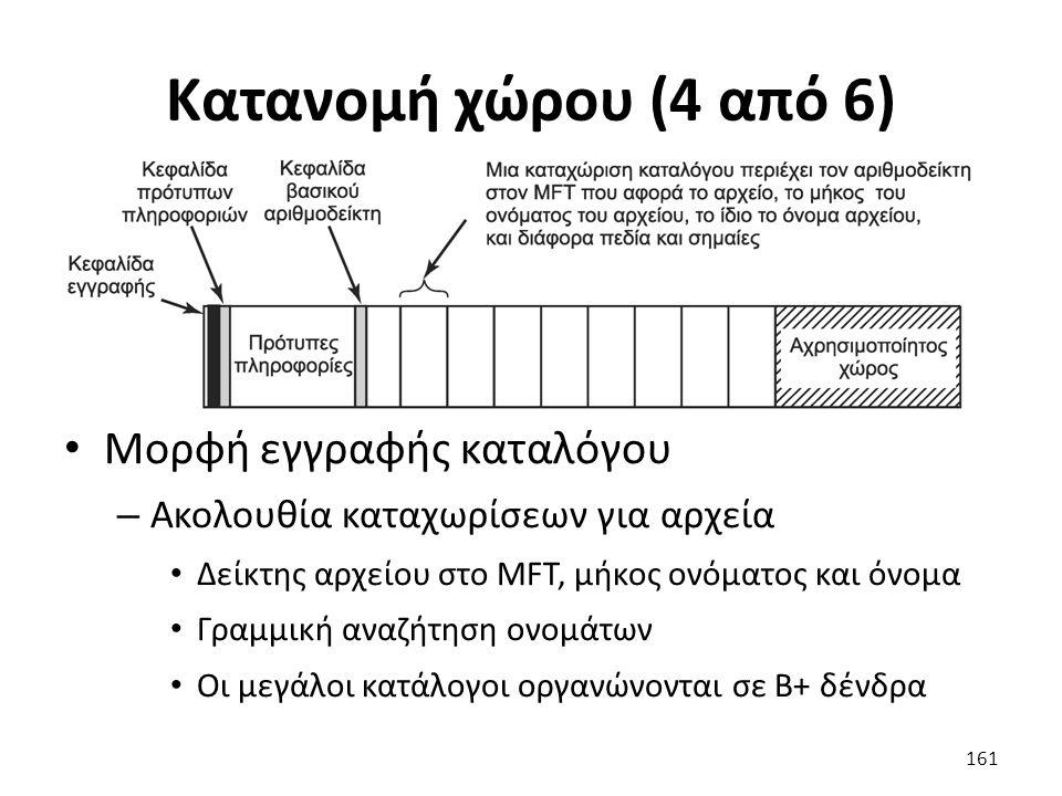 Κατανομή χώρου (4 από 6) Μορφή εγγραφής καταλόγου – Ακολουθία καταχωρίσεων για αρχεία Δείκτης αρχείου στο MFT, μήκος ονόματος και όνομα Γραμμική αναζήτηση ονομάτων Οι μεγάλοι κατάλογοι οργανώνονται σε Β+ δένδρα 161