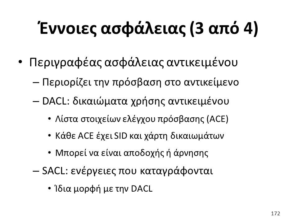 Έννοιες ασφάλειας (3 από 4) Περιγραφέας ασφάλειας αντικειμένου – Περιορίζει την πρόσβαση στο αντικείμενο – DACL: δικαιώματα χρήσης αντικειμένου Λίστα στοιχείων ελέγχου πρόσβασης (ACE) Κάθε ACE έχει SID και χάρτη δικαιωμάτων Μπορεί να είναι αποδοχής ή άρνησης – SACL: ενέργειες που καταγράφονται Ίδια μορφή με την DACL 172