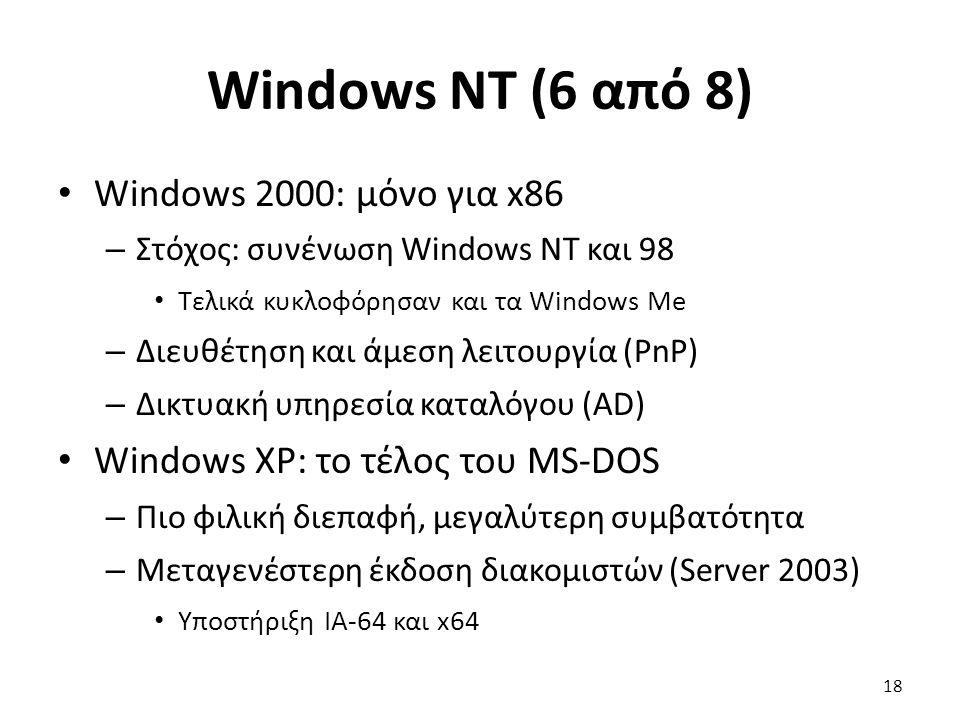 Windows NT (6 από 8) Windows 2000: μόνο για x86 – Στόχος: συνένωση Windows NT και 98 Τελικά κυκλοφόρησαν και τα Windows Me – Διευθέτηση και άμεση λειτουργία (PnP) – Δικτυακή υπηρεσία καταλόγου (AD) Windows XP: το τέλος του MS-DOS – Πιο φιλική διεπαφή, μεγαλύτερη συμβατότητα – Μεταγενέστερη έκδοση διακομιστών (Server 2003) Υποστήριξη IA-64 και x64 18