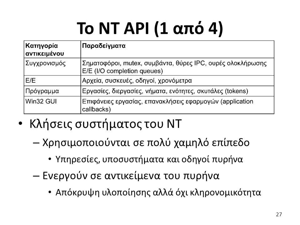 Το NT API (1 από 4) Κλήσεις συστήματος του NT – Χρησιμοποιούνται σε πολύ χαμηλό επίπεδο Υπηρεσίες, υποσυστήματα και οδηγοί πυρήνα – Ενεργούν σε αντικείμενα του πυρήνα Απόκρυψη υλοποίησης αλλά όχι κληρονομικότητα 27