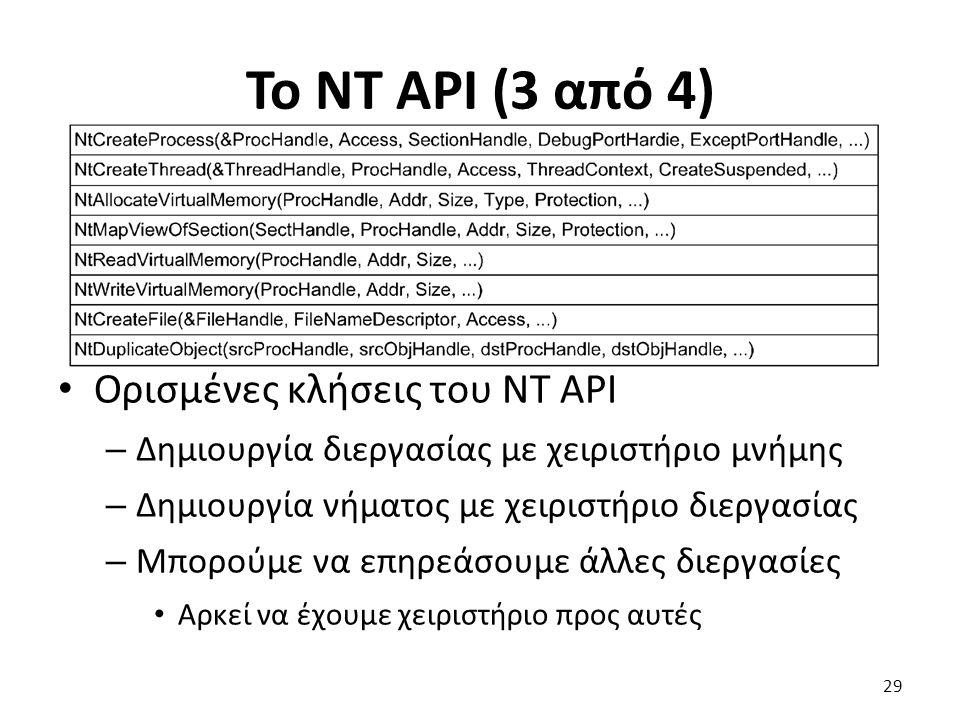 Το NT API (3 από 4) Ορισμένες κλήσεις του NT API – Δημιουργία διεργασίας με χειριστήριο μνήμης – Δημιουργία νήματος με χειριστήριο διεργασίας – Μπορούμε να επηρεάσουμε άλλες διεργασίες Αρκεί να έχουμε χειριστήριο προς αυτές 29