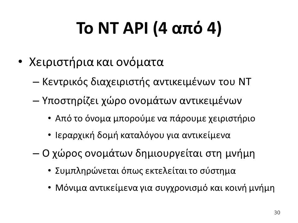 Το NT API (4 από 4) Χειριστήρια και ονόματα – Κεντρικός διαχειριστής αντικειμένων του NT – Υποστηρίζει χώρο ονομάτων αντικειμένων Από το όνομα μπορούμε να πάρουμε χειριστήριο Ιεραρχική δομή καταλόγου για αντικείμενα – Ο χώρος ονομάτων δημιουργείται στη μνήμη Συμπληρώνεται όπως εκτελείται το σύστημα Μόνιμα αντικείμενα για συγχρονισμό και κοινή μνήμη 30