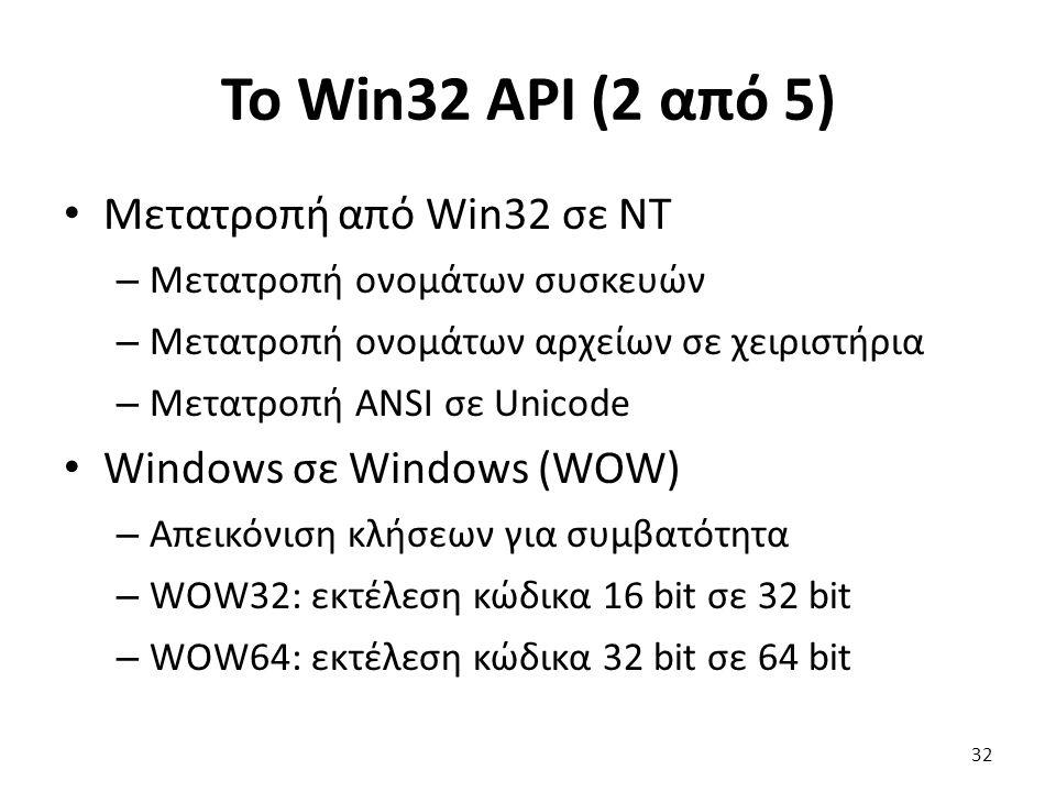 Το Win32 API (2 από 5) Μετατροπή από Win32 σε NT – Μετατροπή ονομάτων συσκευών – Μετατροπή ονομάτων αρχείων σε χειριστήρια – Μετατροπή ANSI σε Unicode Windows σε Windows (WOW) – Απεικόνιση κλήσεων για συμβατότητα – WOW32: εκτέλεση κώδικα 16 bit σε 32 bit – WOW64: εκτέλεση κώδικα 32 bit σε 64 bit 32