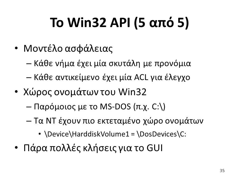 Το Win32 API (5 από 5) Μοντέλο ασφάλειας – Κάθε νήμα έχει μία σκυτάλη με προνόμια – Κάθε αντικείμενο έχει μία ACL για έλεγχο Χώρος ονομάτων του Win32 – Παρόμοιος με το MS-DOS (π.χ.