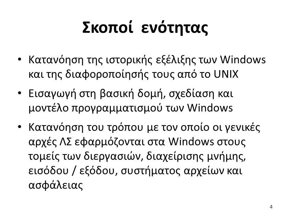 Σκοποί ενότητας Κατανόηση της ιστορικής εξέλιξης των Windows και της διαφοροποίησής τους από το UNIX Εισαγωγή στη βασική δομή, σχεδίαση και μοντέλο προγραμματισμού των Windows Κατανόηση του τρόπου με τον οποίο οι γενικές αρχές ΛΣ εφαρμόζονται στα Windows στους τομείς των διεργασιών, διαχείρισης μνήμης, εισόδου / εξόδου, συστήματος αρχείων και ασφάλειας 4