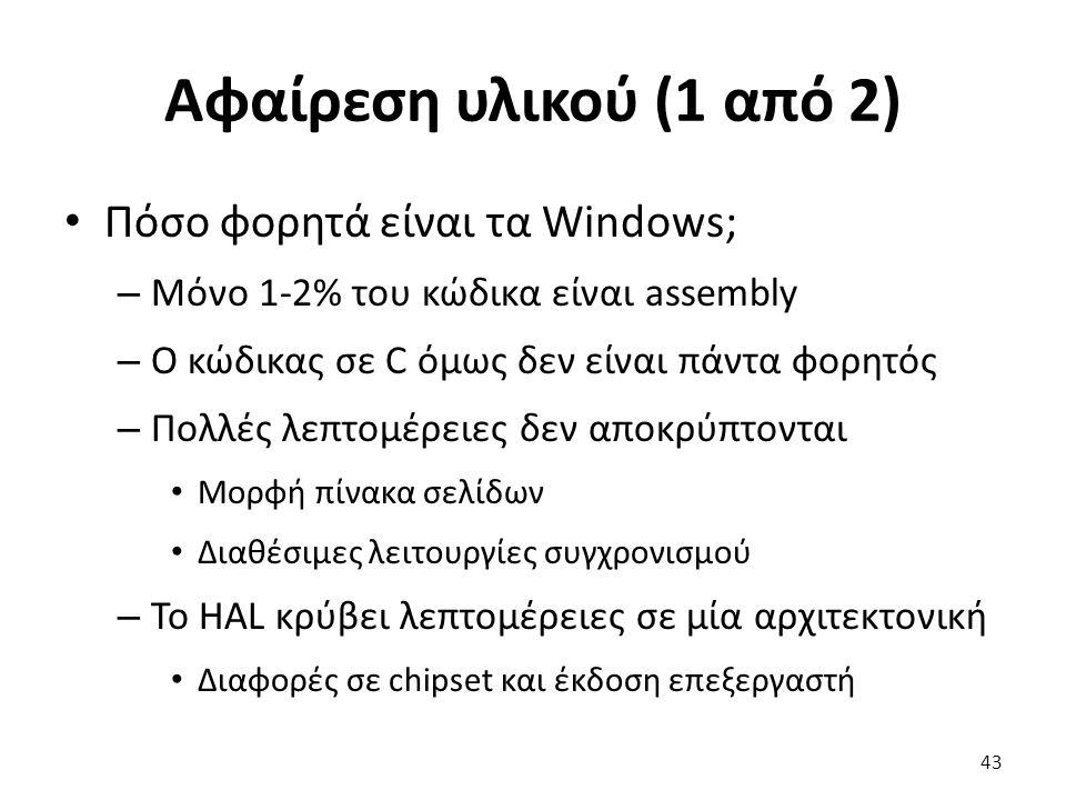 Αφαίρεση υλικού (1 από 2) Πόσο φορητά είναι τα Windows; – Μόνο 1-2% του κώδικα είναι assembly – Ο κώδικας σε C όμως δεν είναι πάντα φορητός – Πολλές λεπτομέρειες δεν αποκρύπτονται Μορφή πίνακα σελίδων Διαθέσιμες λειτουργίες συγχρονισμού – Το HAL κρύβει λεπτομέρειες σε μία αρχιτεκτονική Διαφορές σε chipset και έκδοση επεξεργαστή 43