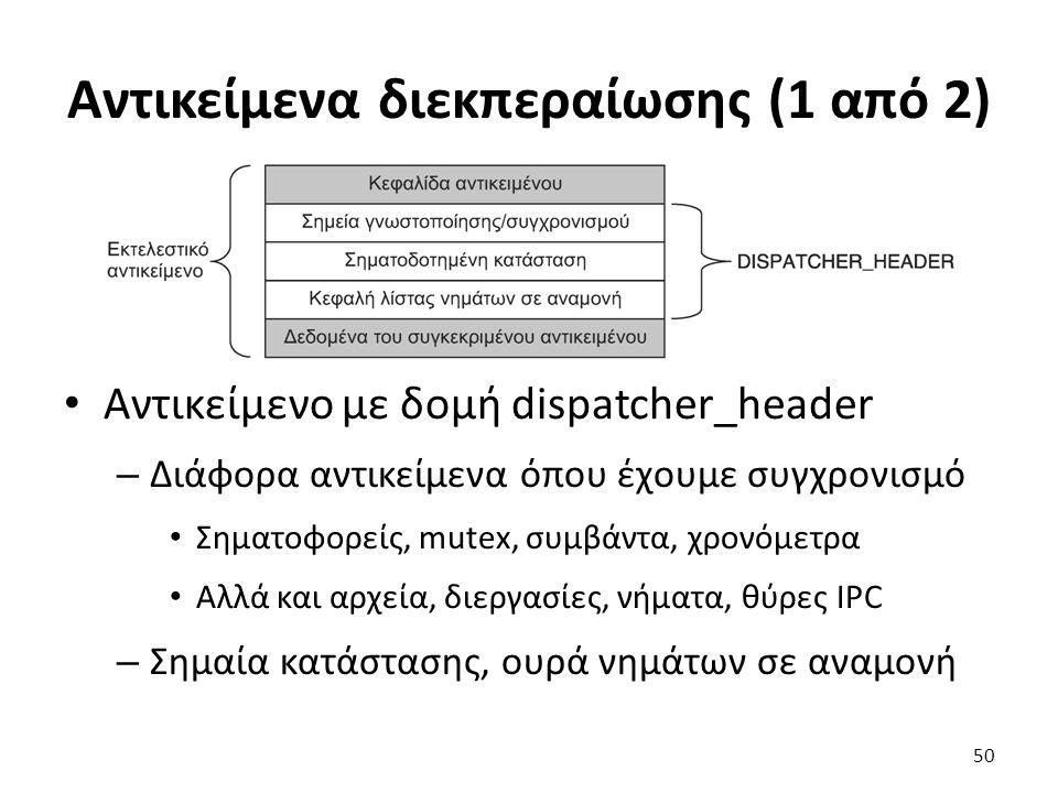 Αντικείμενα διεκπεραίωσης (1 από 2) Αντικείμενο με δομή dispatcher_header – Διάφορα αντικείμενα όπου έχουμε συγχρονισμό Σηματοφορείς, mutex, συμβάντα, χρονόμετρα Αλλά και αρχεία, διεργασίες, νήματα, θύρες IPC – Σημαία κατάστασης, ουρά νημάτων σε αναμονή 50