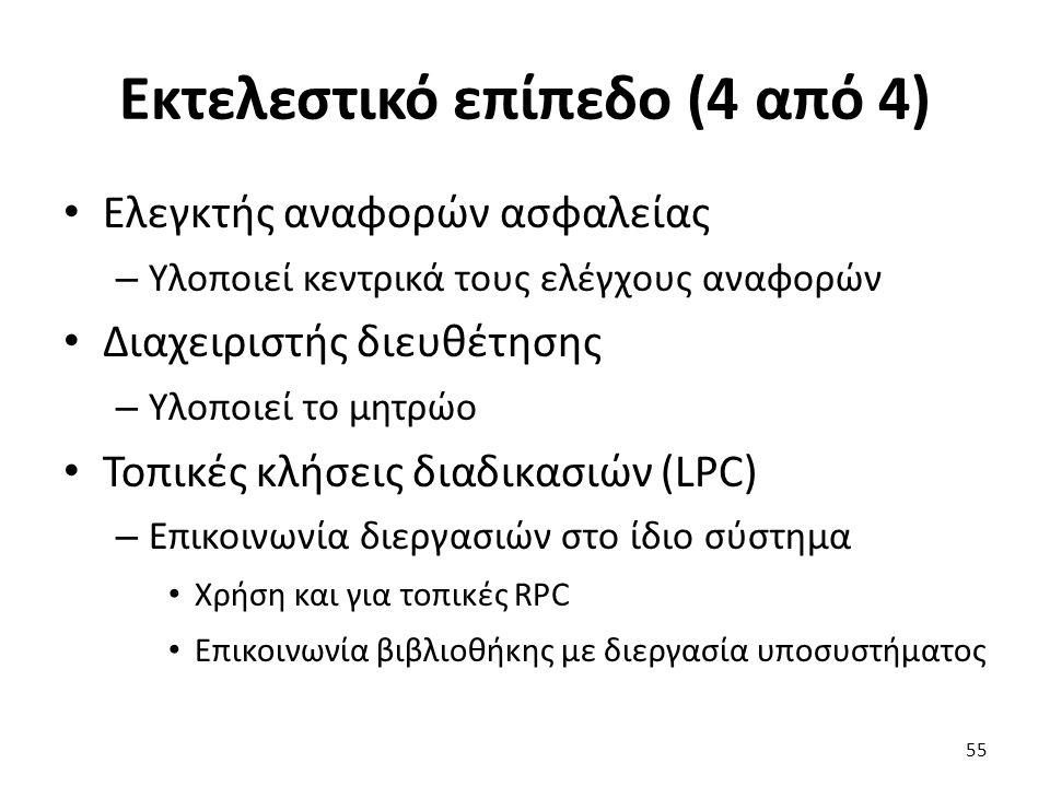 Εκτελεστικό επίπεδο (4 από 4) Ελεγκτής αναφορών ασφαλείας – Υλοποιεί κεντρικά τους ελέγχους αναφορών Διαχειριστής διευθέτησης – Υλοποιεί το μητρώο Τοπικές κλήσεις διαδικασιών (LPC) – Επικοινωνία διεργασιών στο ίδιο σύστημα Χρήση και για τοπικές RPC Επικοινωνία βιβλιοθήκης με διεργασία υποσυστήματος 55