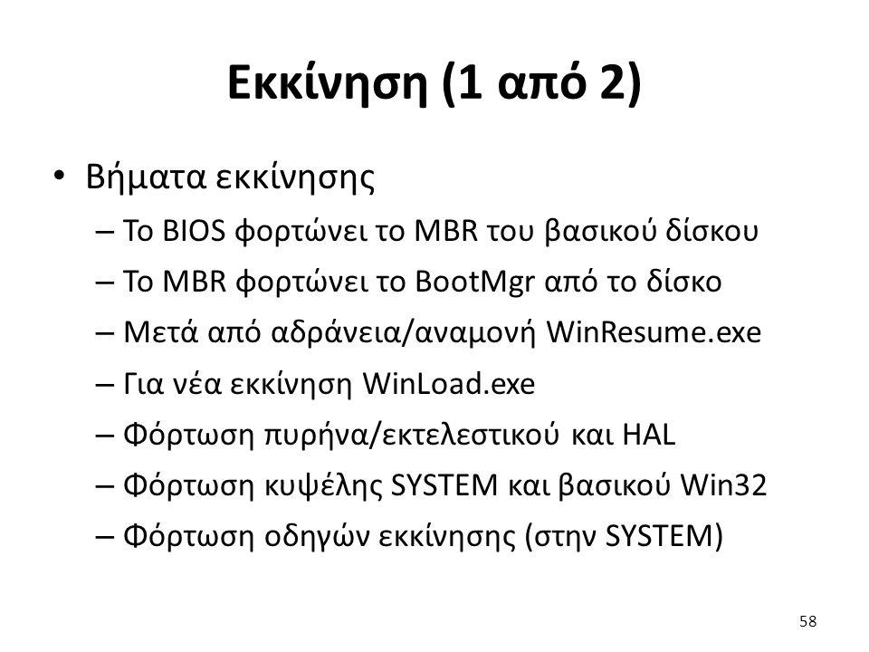 Εκκίνηση (1 από 2) Βήματα εκκίνησης – Το BIOS φορτώνει το MBR του βασικού δίσκου – Το MBR φορτώνει το BootMgr από το δίσκο – Μετά από αδράνεια/αναμονή WinResume.exe – Για νέα εκκίνηση WinLoad.exe – Φόρτωση πυρήνα/εκτελεστικού και HAL – Φόρτωση κυψέλης SYSTEM και βασικού Win32 – Φόρτωση οδηγών εκκίνησης (στην SYSTEM) 58