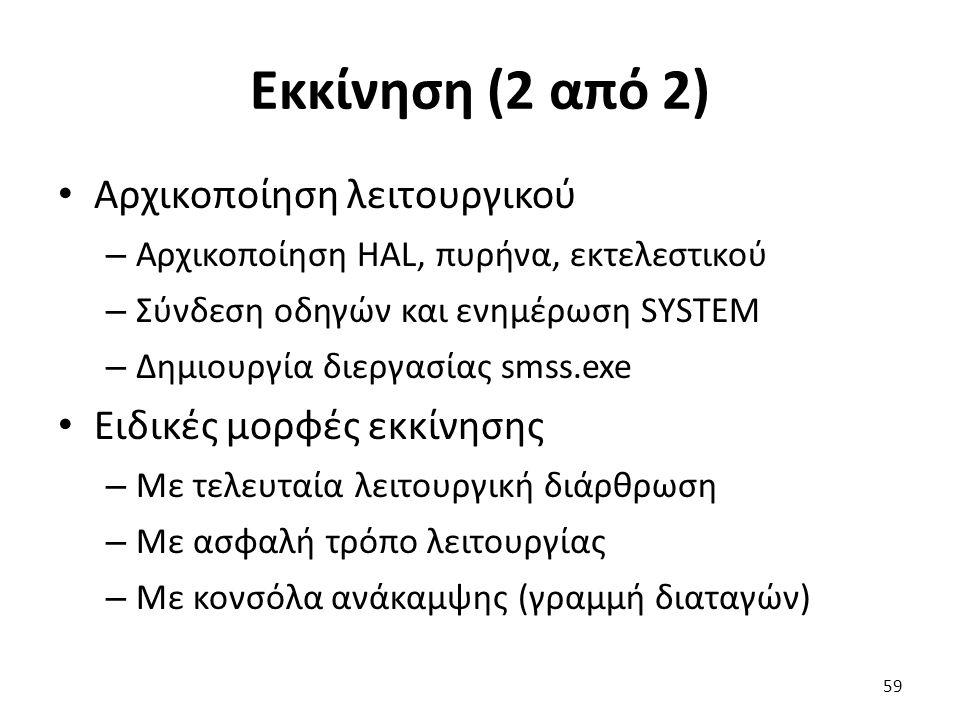 Εκκίνηση (2 από 2) Αρχικοποίηση λειτουργικού – Αρχικοποίηση HAL, πυρήνα, εκτελεστικού – Σύνδεση οδηγών και ενημέρωση SYSTEM – Δημιουργία διεργασίας smss.exe Ειδικές μορφές εκκίνησης – Με τελευταία λειτουργική διάρθρωση – Με ασφαλή τρόπο λειτουργίας – Με κονσόλα ανάκαμψης (γραμμή διαταγών) 59