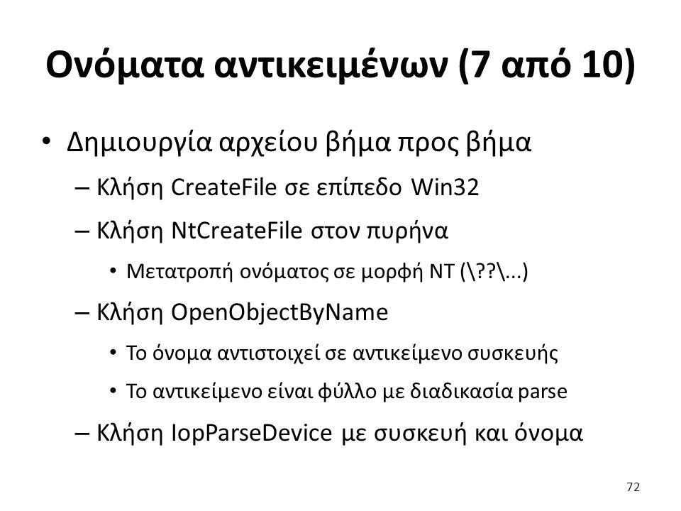 Ονόματα αντικειμένων (7 από 10) Δημιουργία αρχείου βήμα προς βήμα – Κλήση CreateFile σε επίπεδο Win32 – Κλήση NtCreateFile στον πυρήνα Μετατροπή ονόματος σε μορφή NT (\??\...) – Κλήση OpenObjectByName Το όνομα αντιστοιχεί σε αντικείμενο συσκευής Το αντικείμενο είναι φύλλο με διαδικασία parse – Κλήση IopParseDevice με συσκευή και όνομα 72