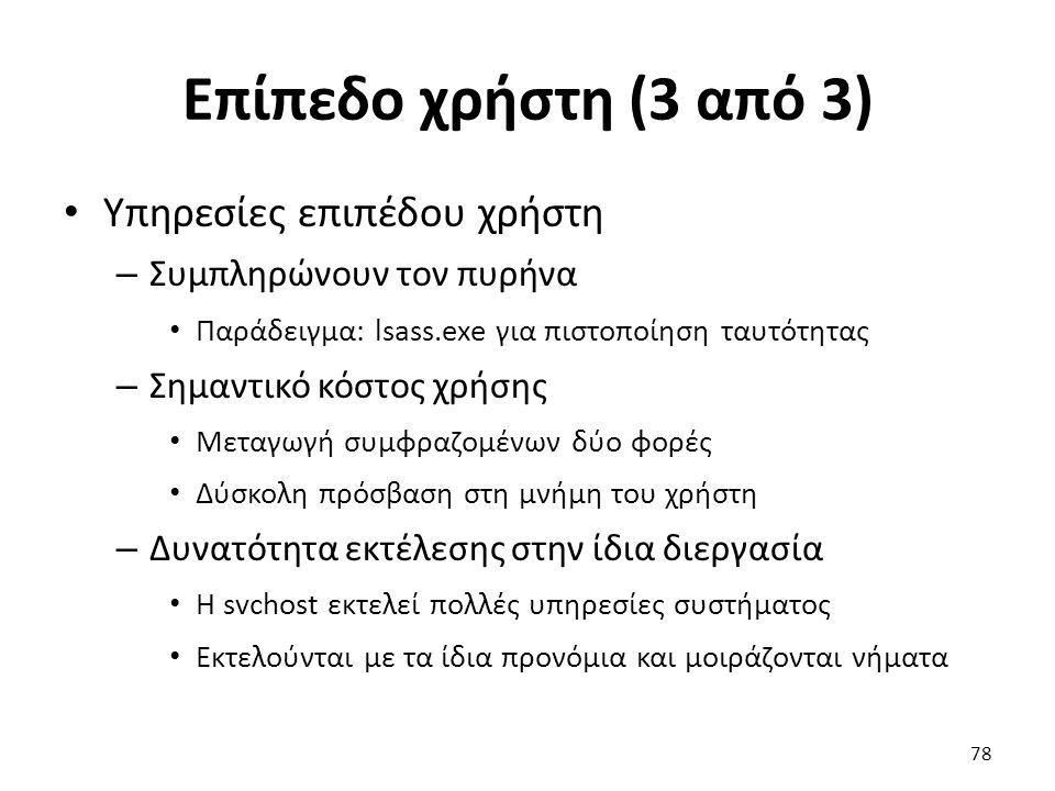 Επίπεδο χρήστη (3 από 3) Υπηρεσίες επιπέδου χρήστη – Συμπληρώνουν τον πυρήνα Παράδειγμα: lsass.exe για πιστοποίηση ταυτότητας – Σημαντικό κόστος χρήσης Μεταγωγή συμφραζομένων δύο φορές Δύσκολη πρόσβαση στη μνήμη του χρήστη – Δυνατότητα εκτέλεσης στην ίδια διεργασία Η svchost εκτελεί πολλές υπηρεσίες συστήματος Εκτελούνται με τα ίδια προνόμια και μοιράζονται νήματα 78