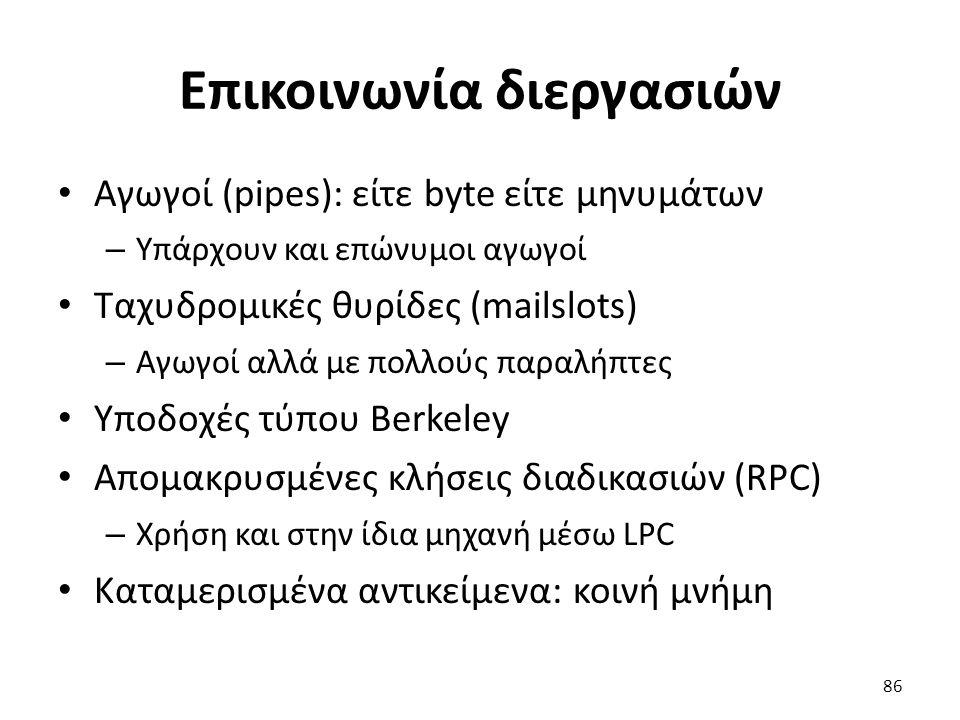 Επικοινωνία διεργασιών Αγωγοί (pipes): είτε byte είτε μηνυμάτων – Υπάρχουν και επώνυμοι αγωγοί Ταχυδρομικές θυρίδες (mailslots) – Αγωγοί αλλά με πολλούς παραλήπτες Υποδοχές τύπου Berkeley Απομακρυσμένες κλήσεις διαδικασιών (RPC) – Χρήση και στην ίδια μηχανή μέσω LPC Καταμερισμένα αντικείμενα: κοινή μνήμη 86