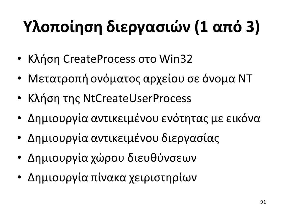 Υλοποίηση διεργασιών (1 από 3) Κλήση CreateProcess στο Win32 Μετατροπή ονόματος αρχείου σε όνομα NT Κλήση της NtCreateUserProcess Δημιουργία αντικειμένου ενότητας με εικόνα Δημιουργία αντικειμένου διεργασίας Δημιουργία χώρου διευθύνσεων Δημιουργία πίνακα χειριστηρίων 91