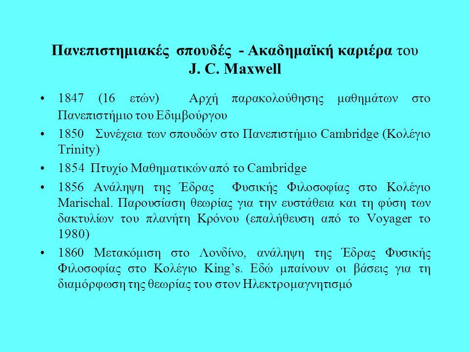 1865 Παραίτηση από το Κολέγιο King's, αφιέρωση στις μελέτες του και στο συγγραφικό του έργο 1871 Αναγόρευση σε Καθηγητή Φυσικής στο Cambridge 1873 Έκδοση του ιστορικού βιβλίου του A Treatise on Electricity and Magnetism 1879 Θάνατος του J.