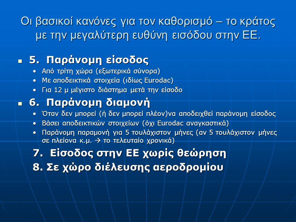 Οι βασικοί κανόνες για τον καθορισμό – το κράτος με την μεγαλύτερη ευθύνη εισόδου στην ΕΕ. 5. Παράνομη είσοδος 5. Παράνομη είσοδος Από τρίτη χώρα (εξω