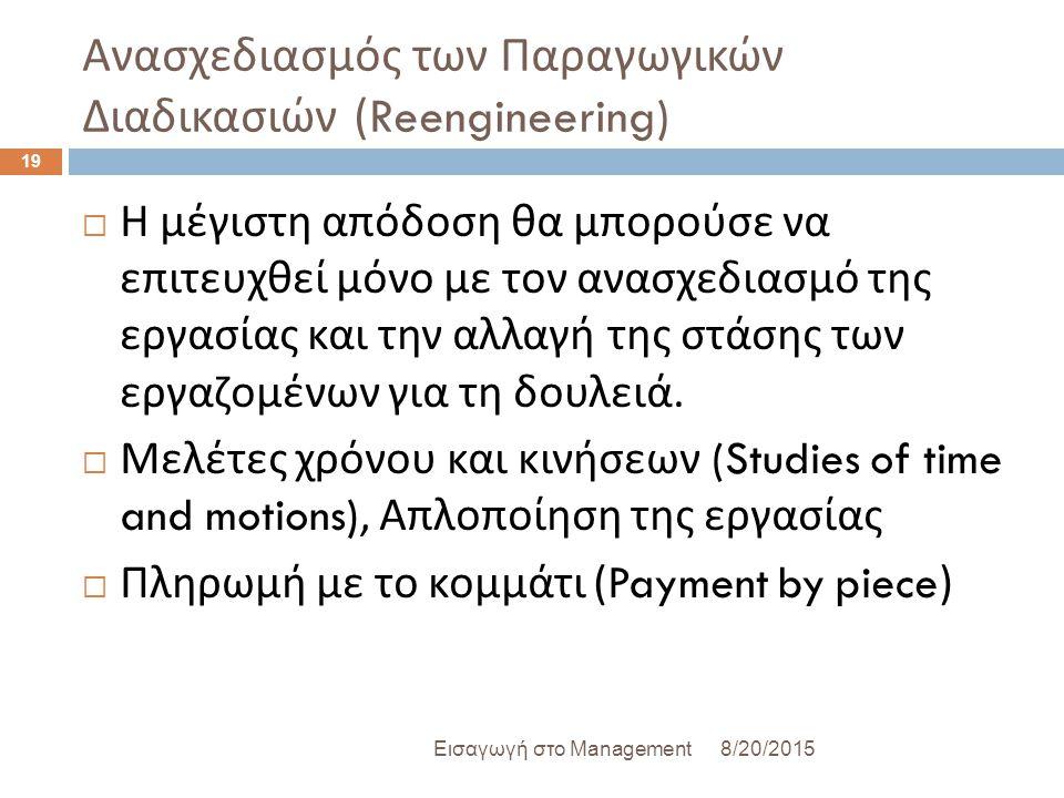 Ανασχεδιασμός των Παραγωγικών Διαδικασιών (Reengineering) 8/20/2015Εισαγωγή στο Management 19  Η μέγιστη απόδοση θα μπορούσε να επιτευχθεί μόνο με τον ανασχεδιασμό της εργασίας και την αλλαγή της στάσης των εργαζομένων για τη δουλειά.