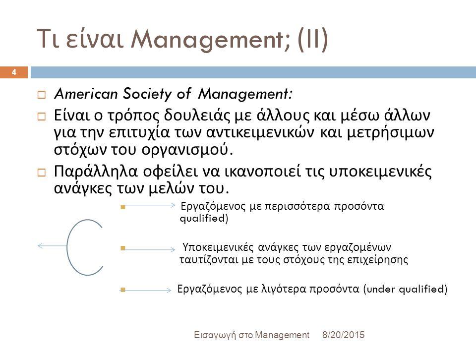 Τι είναι Management; ( ΙΙ ) 8/20/2015Εισαγωγή στο Management 4  American Society of Management:  Είναι ο τρόπος δουλειάς με άλλους και μέσω άλλων για την επιτυχία των αντικειμενικών και μετρήσιμων στόχων του οργανισμού.