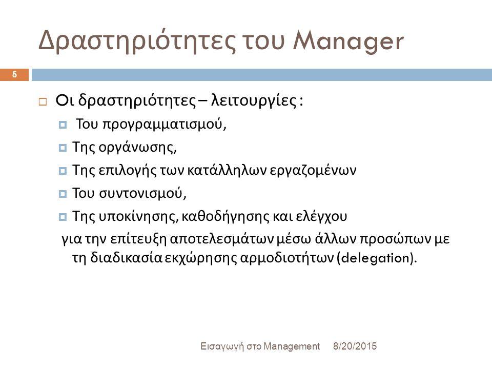 Δραστηριότητες του Manager 8/20/2015Εισαγωγή στο Management 5  O ι δραστηριότητες – λειτουργίες :  Του προγραμματισμού,  Της οργάνωσης,  Της επιλογής των κατάλληλων εργαζομένων  Του συντονισμού,  Της υποκίνησης, καθοδήγησης και ελέγχου για την επίτευξη αποτελεσμάτων μέσω άλλων προσώπων με τη διαδικασία εκχώρησης αρμοδιοτήτων (delegation).