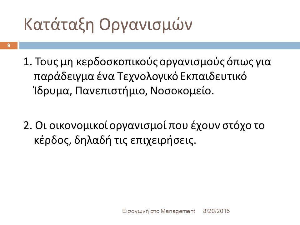 Κατάταξη Οργανισμών 8/20/2015Εισαγωγή στο Management 9 1. Τους μη κερδοσκοπικούς οργανισμούς όπως για παράδειγμα ένα Τεχνολογικό Εκπαιδευτικό Ίδρυμα,